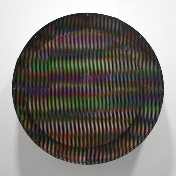 Carlos Cruz-Diez - Chromointerference mecanique - Aluminium, Plexiglas, acrylverf en motor