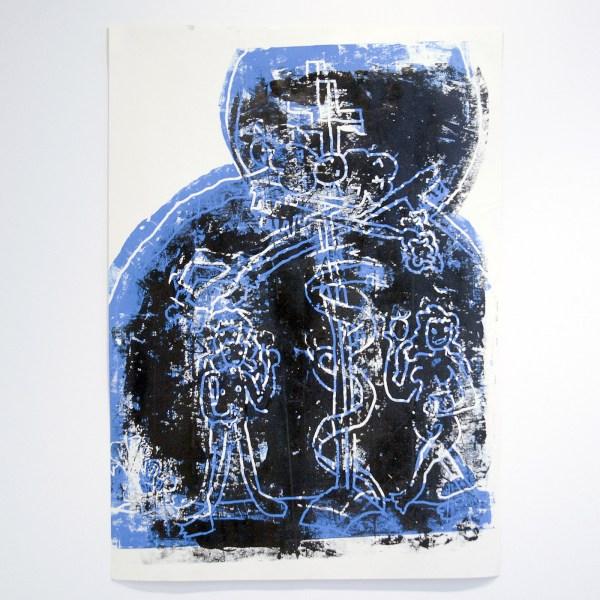 Cedar Lewisohn - Untitled (Scene from Maastricht church) - 100x140cm Houtsnede op papier (unieke afdruk)