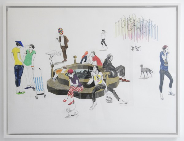 Charles Avery - Untitled (Pool study) - 125x171cm Potlood, inkt, acrylverf en gouache op papier op linnen