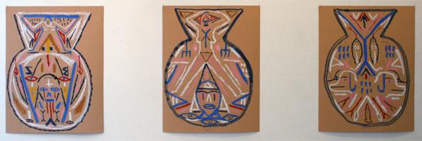 Charlie Roberts - Skane Boys, Chief Keef, Tripple Six (Vase Design #1, #2, #3) - 65x50cm Potlood en pastel op papier