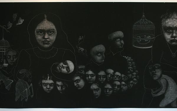 Christina Calbari - Landscape - 120x550cm Pastel en potlood op canvas (detail)