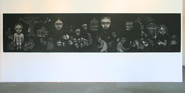 Christina Calbari - Landscape - 120x550cm Pastel en potlood op canvas