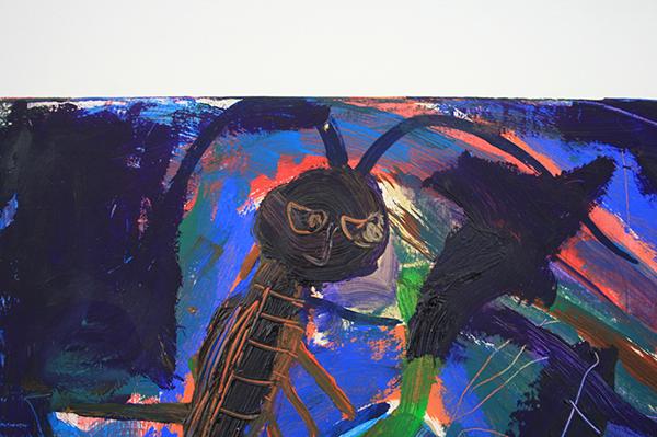 Derk Thijs - Blue - 66x41cm Acrylverf en olieverf op multiplex (detail)