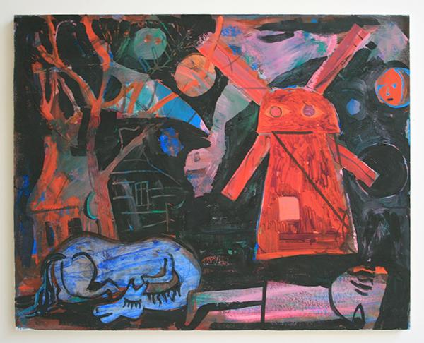 Derk Thijs - Down in Jisp - 71x88cm Gouache, en collage op papier op paneel