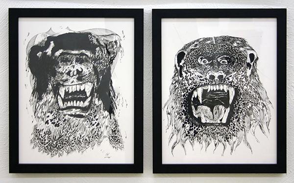 Eduard Bezembinder - Fusiedieren - 40x30cm Fineliner op papier