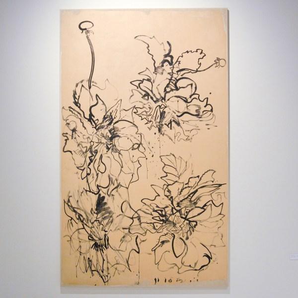Erik Andriesse - Dahlia's - Waterverf op papier op katoen, 1982