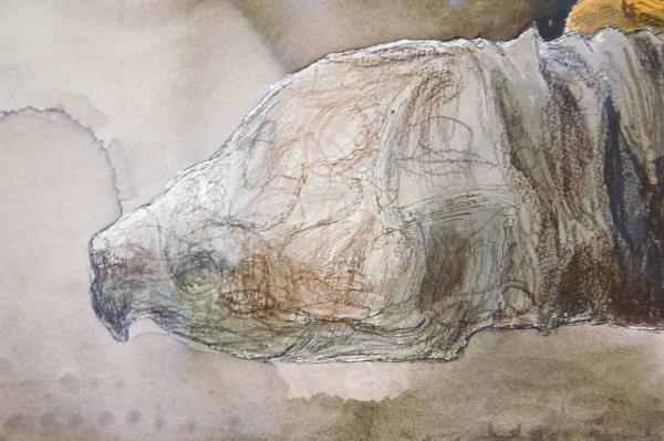 Erik Andriesse - Schildpadden - Gemengde techniek op papier, 1991 (detail)