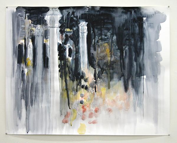 Erik Pape - Place Stalingrad - 80x100cm Aquarel op papier