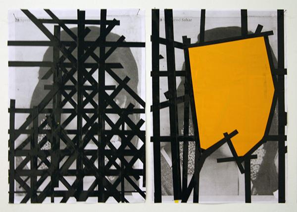 Erik van Lieshout - Ministry of Subculture - Installatie van 49 tekeningen op papier en 1 architectuur model (detail)