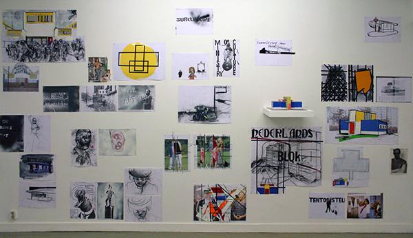 Erik van Lieshout - Ministry of Subculture - Installatie van 49 tekeningen op papier en 1 architectuur model