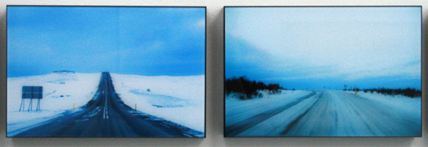 Esther Kokmeijer - Moment of Accuracy - A Day Without Sunrise and a Night Whitout Sunset - Me and the Driver - Journey Towarde the Winter Solstice Iceland - 19x28cm Geplexificeerde lambda print