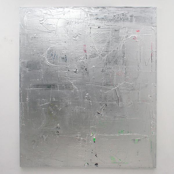 Florian Quistrebert, Michael Quistrebert - Overlight 3 - 170x200cm Aluminium pigmenten en verschillende soorten verf op canvas met LED en batterijen
