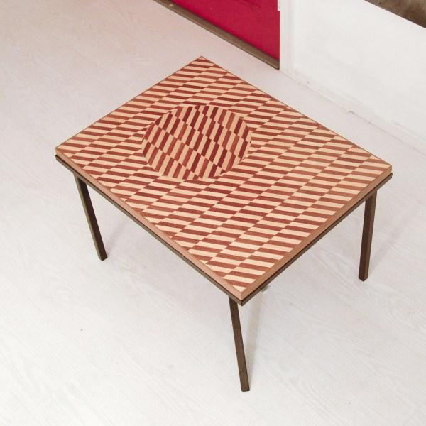 Folke Janssen - Proposition for a Table I - Hout inlegpaneel van optische illusie als tafel