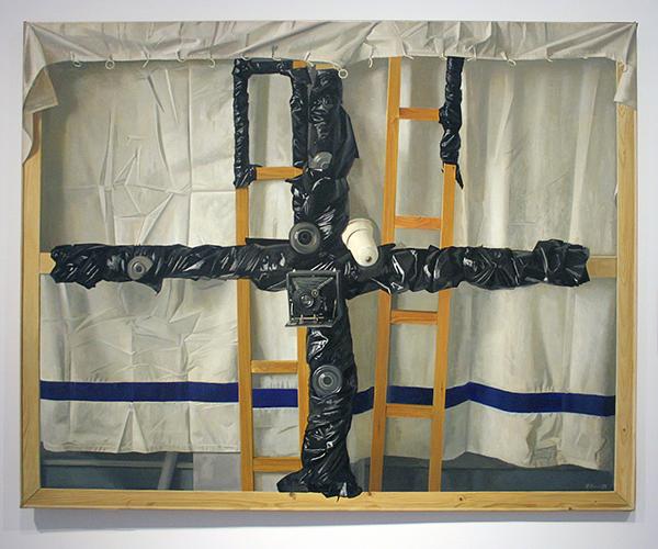 Frans Clement - Zwart Kruis - Olieverf op doek, 1972