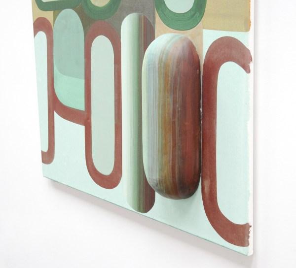 Gabrielle van de Laak - Broad Beans - 110x95cm Acrylverf, pigment en polystyreen op katoen (detail)