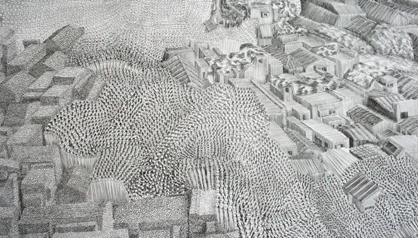 Georg Bohle - City 19 - 150x255cm Fineliner en potlood op papier (detail)