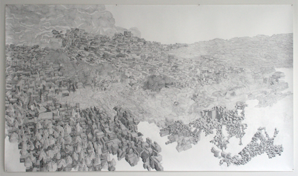 Georg Bohle - City 19 - 150x255cm Fineliner en potlood op papier