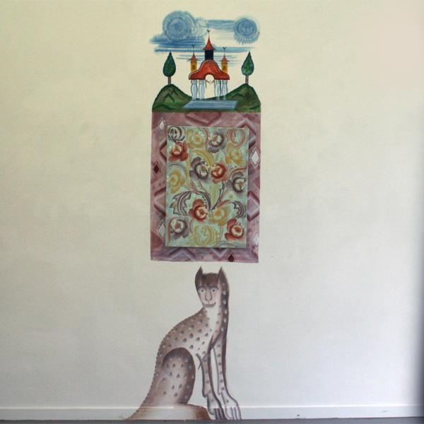 Gijs Frieling - Pioenen - 45x66cm Caseine en pigmenten op muur en linnen