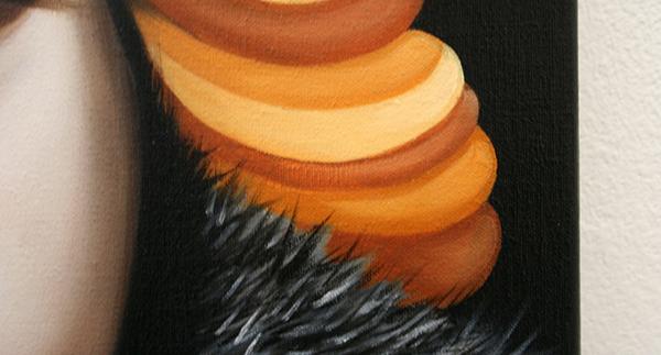 Gonul Albayrak - Eloise - 70x70cm Olieverf op linnen (detail)