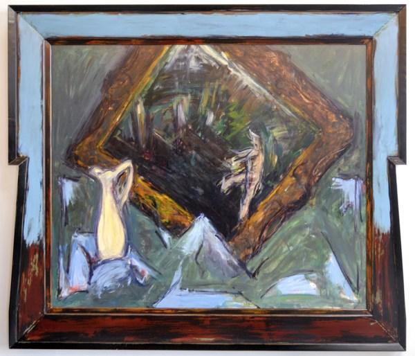 Hans van Hoek - Stilleven met gekanteld schilderij en gele vaas - 191x221cm (incl lijst) Olieverf op doek
