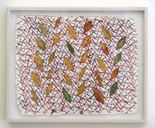 Henri Jacobs - 499, 28 sept 2010, Weaving & tree leaf writing - 25x32cm Aquarel op Moulin de Larroque papier