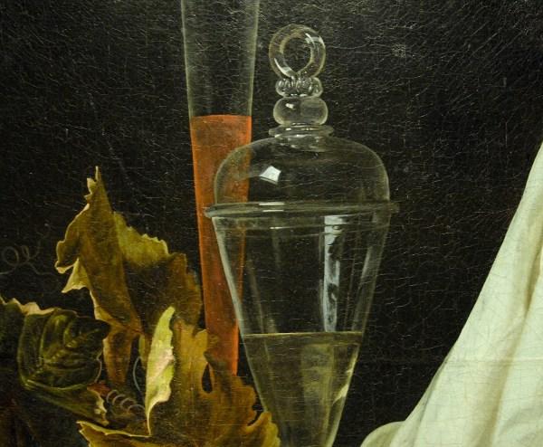 Henri de Fromantiou - Stilleven met fruit en glas - Olieverf op doek, circa 1670 (detail)