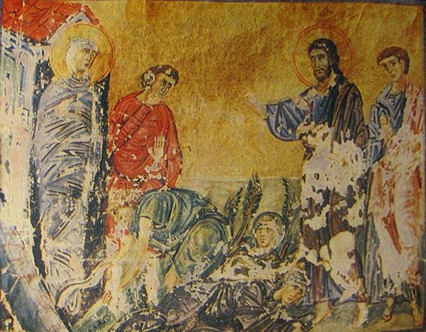 Het Synaxarium van Euthymius Athonite - De verrijzenis van Lazarus - Miniatuur 1030