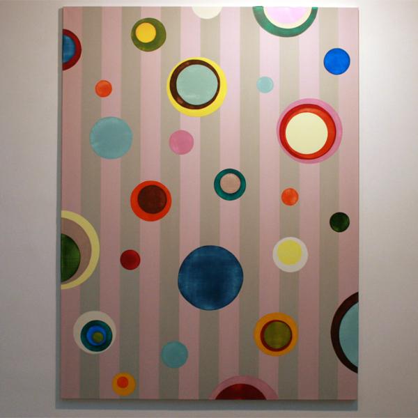 Ien Lucas - 02082011 Zonder Titel (serie Bulbs and Stripes) - 200x150cm Acrylverf op linnen