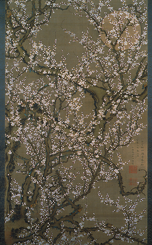 Ito Jakuchu - White plum blossoms and moon - 140x80cm Inkt op zijde