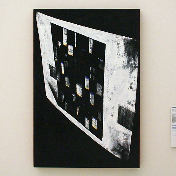 JCJ Vanderheyden - Checkerboard on Monitor - Acrylverf op doek 2000