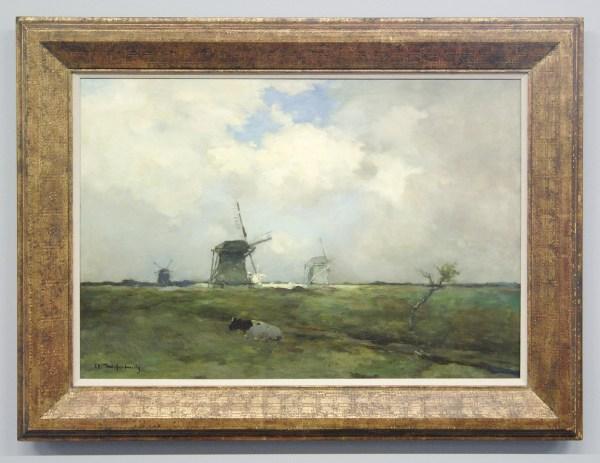 JH Weissenbruch - Molens in Polderlandschap - Olieverf op doek