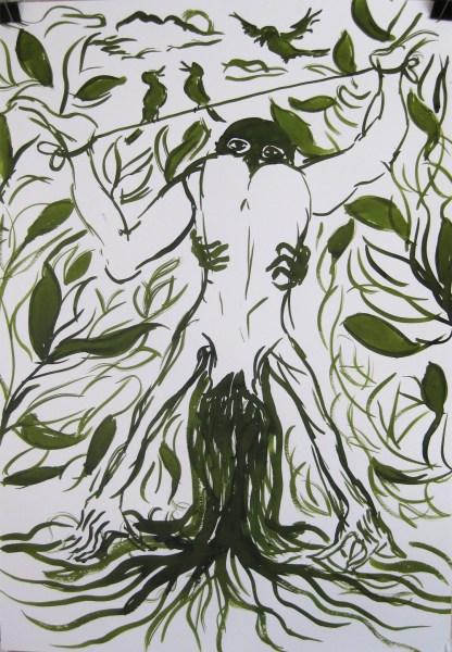 Jan Pötter - So sicher wie der grüne Daumen - 70x100cm, Tusche op papier, 2015