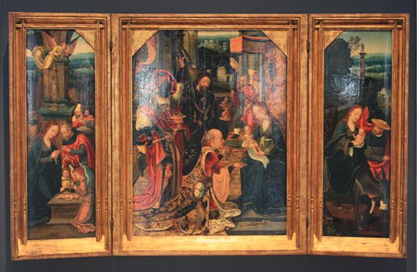 Jan van Dornicke en atelier - Drieluik met de voorstellingen rond de geboorte van Christus - Olieverf op paneel