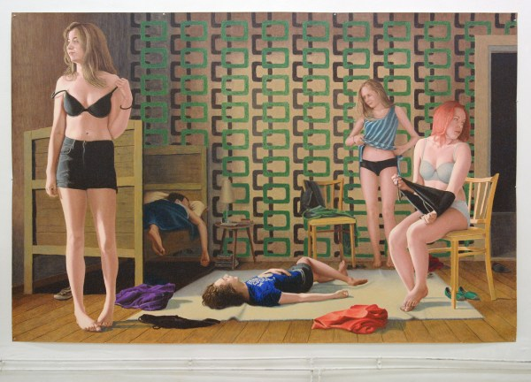 Jans Muskee - An Early Sunday Morning - 195x300cm Oliepastel op papier