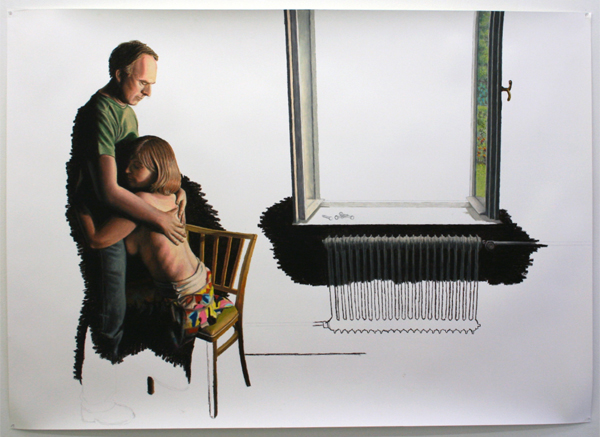 Jans Muskee - Window - 140x195cm Oliepastel en potlood op papier
