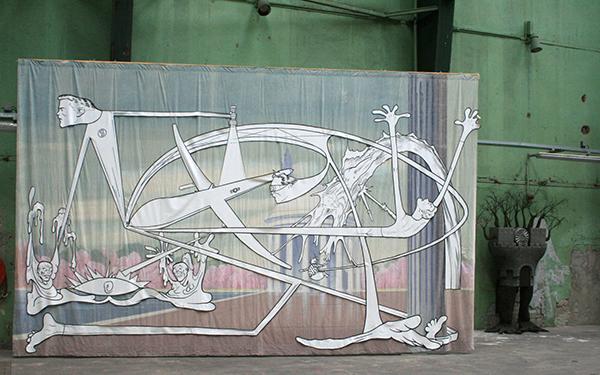 Jim Shaw - Jefferson Memorial - Acrylverf op mousseline met uitgeknipte vorm van acrylverf op mousseline