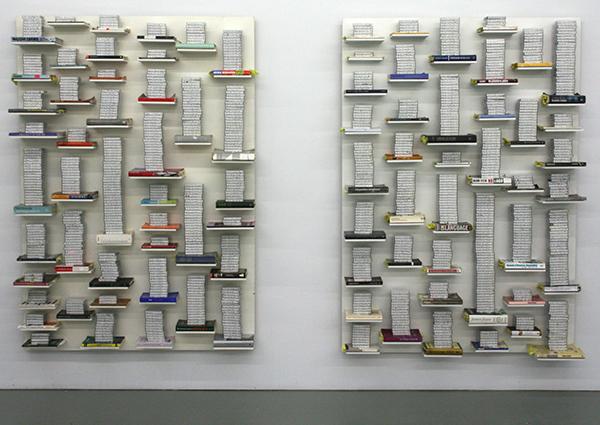 Job Koelewijn - relief 1, 1 feb 2006-24 march 2009 & relief 2, 25 march 2009 - 2012 - 140x200x30cm Cassette tapes en boeken