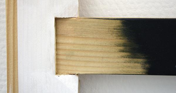 Joe Scalan - KM - 49x47x5cm Gouache en olieverf op hout (detail)