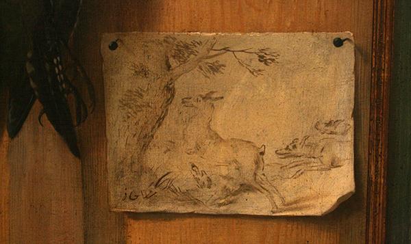 Johan Georg Waxschlunger - Twee Trompe-l'oeils met Vogels - Olieverf op doek, omstreeks 1700 (detail)
