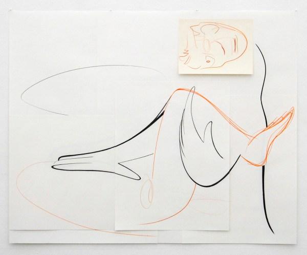 Joost Krijnen - L'Astronaute Provinciale - 101x125cm Houtskool, kleurpotlood en potlood op papier