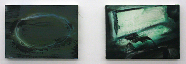 Jop Vissers Vorstenbosch - Oppenheimers grondstoffelijke trillingen & Digitaal grot tafereel - 40x55cm Olieverf, acrylverf, lak en spuitbus op canvas