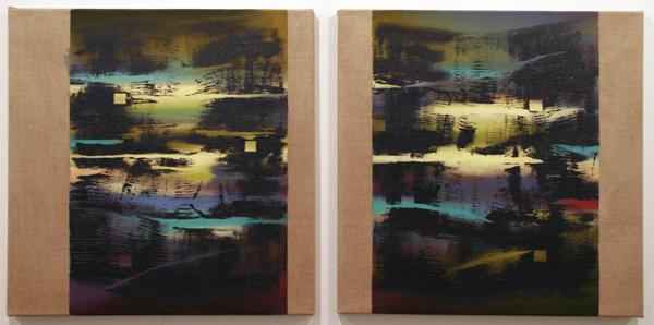 Joris Geurts - Zonder Titel - 2 maal 55x55cm Olieverf en acrylverf op linnen