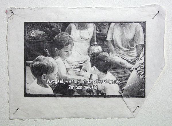Kim Hospers - Entertain Us II - 30x20cm Mixed Media op papier (detail)