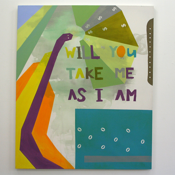 Kim van Norren - Will You Take Me As I Am - 180x150cm Acrylverf op doek (tekst Joni Mitchell)