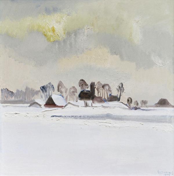 Klaas Koopmans - Winter bij Jouswier - 76x86cm