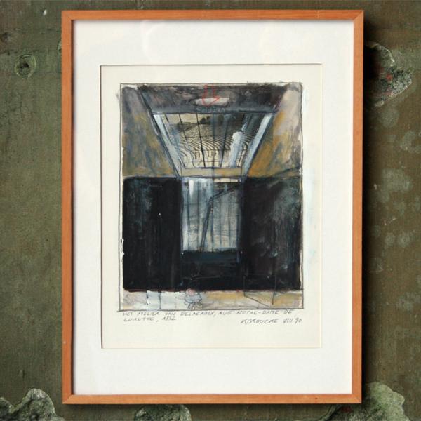 Koen Broucke - Het Atelier van Eugene Delacroix - 40x30cm Acrylverf, potlood en collage op papier