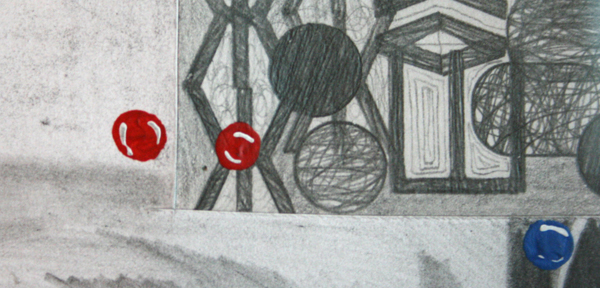 Koen Taselaar - The Drawing Club - Potlood en collage op papier (detail)