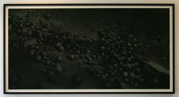 Levi van Veluw - Spheres - 240x120cm Houtskool op papier