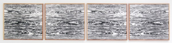 Lisa Oppenheim - Landschape Portraits (Bich and Red Cedar) (Version I) - 68x64cm per deel, Vier gelatine fotogrammen in unieke lijsten