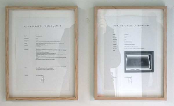 Loek Grootjans - Storage For Distorted Matter (Objects for the Asylum for Vincent van Gogh) - Papieren behoorenden bij de sokkel en beton